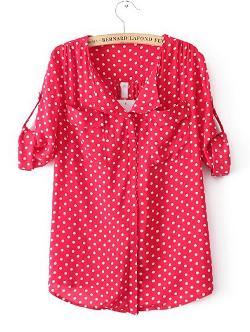 Nextshe - White Polka Dot Red Pockets Half Sleeve Lapel Blouse