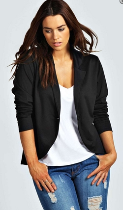 Boohoo Plus  - Astrella One Button Ponte Blazer