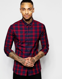 ASOS  - Skinny Shirt In Check With Long Sleeve