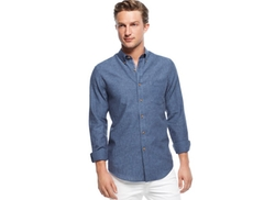 Club Room  - Linen-Blend Chambray Shirt