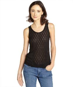 Rag & Bone  - Black Jacquard Cutout Cotton Tank