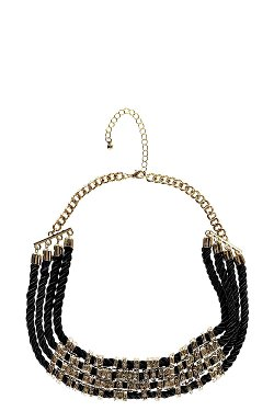 Boohoo - Kim Rope And Metal Detail Collar Necklace