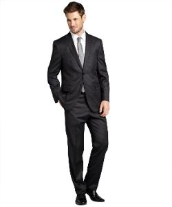 Joseph Abboud  - Charcoal Pinstripe Wool Two-Button Suit With Flat Front Pants