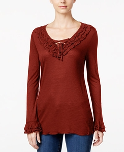 INC International Concepts - Lace-Up Ruffled Top