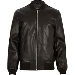 River Island - Black Leather-Look Bomber Jacket