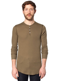 American Apparel - Thermal Long Sleeve Henley Shirt