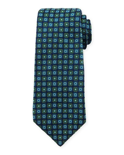 Kiton  - Diamond & Medallion-Printed Silk Tie