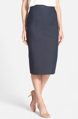 Halogen - Denim Midi Pencil Skirt