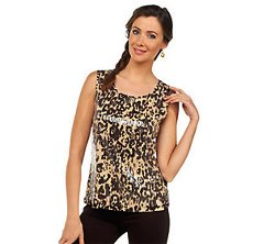 Joan Rivers - Scoop Neck Sequin Animal Print Top