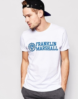 Franklin & Marshall  - Classic Crew Neck T-Shirt with Chest Logo Print