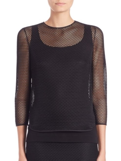 Akris Punto  - Mesh Three-Quarter Sleeve Top