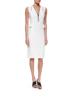 Altuzarra - Lace-Up Split-Peplum Sheath Dress