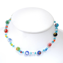 Chuvora - Millefiori Flower Round Necklace