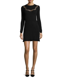 RED Valentino - Long-Sleeve Scallop Lace-Inset Dress