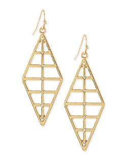 Panacea - Ribbed Diamond Shape Dangle Earring