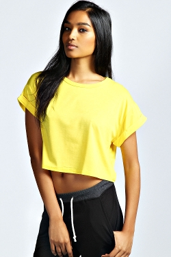 Sarah - Crop Roll Back Sleeve Tee Shirt