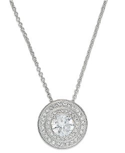 Eliot Danori  - Silver-Tone Crystal Pendant Necklace