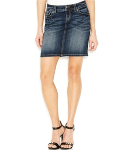 Miss Me - Flap-Pocket Denim Skirt