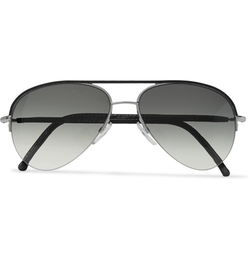 Cutler And Gross   - Leather-Trimmed Acetate Aviator Sunglasses
