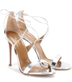 Aquazzura  - Linda 105 Metallic Leather Sandals