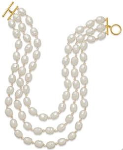 Lauren Ralph Lauren  - Gold-Tone Three Row Pink Glass Pearl Necklace