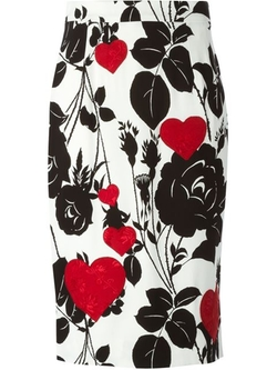 Dolce & Gabbana - Floral And Heart Print Pencil Skirt