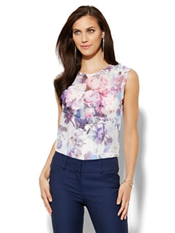 New York & Co. - Mesh Overlay Top