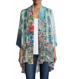 Johnny Was - Mixed-Print Tie-Front Silk Kimono