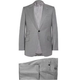Huntsman   - Grey Slim-Fit Wool Suit