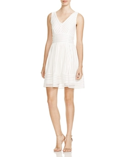 Aqua  - Mesh Neoprene Stripe Dress