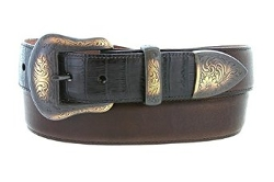 Lejon Tucson Belt  - Italian Calfskin Embossed Croco Bison Leather Belt