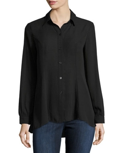 5twelve - Long-Sleeve Flutter-Hem Blouse
