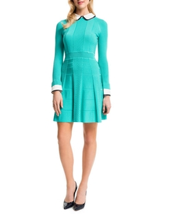 Cynthia Steffe  - Mixed-Knit Dress w/Collar & Cuffs
