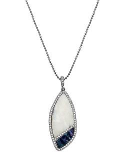 ABS by Allen Schwartz - Silver-Tone Cut Stone Crystal Pavé Long Pendant Necklace