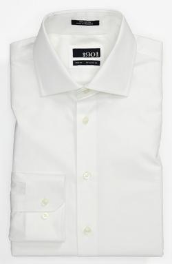 1901  - Solid End-on-End Cotton Trim Fit Dress Shirt