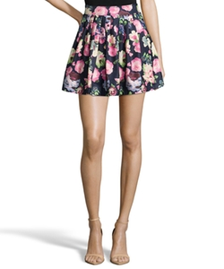 Wyatt - Navy And Pink Floral Print Piqué Pleated Mini Skirt