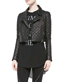Haute Hippie - Cropped Quilted Leather Moto Jacket