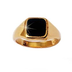 So Chic Jewels - Gold Plated Onyx Signet Ring