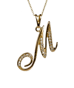 max & Chloe - M Initial Pendant Necklace