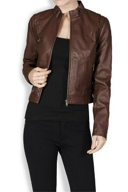 Simlu - Faux Leather Zippered Crop Jacket