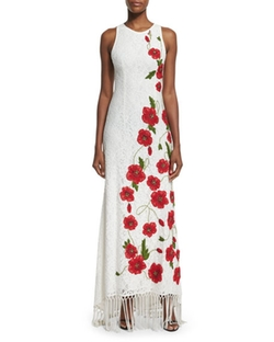 Alice + Olivia  - Bonny Sleeveless Lace Floral-Embroidered Dress