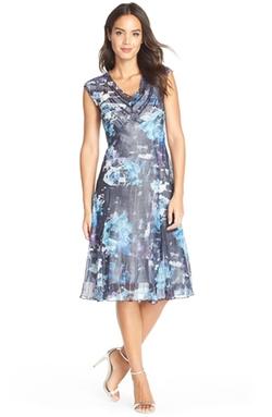 Komarov - Print Chiffon & Charmeuse A-Line Dress