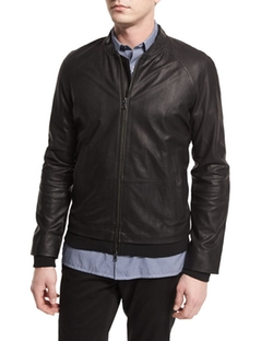 Vince - Perforated Leather Zip Bomber Jacket