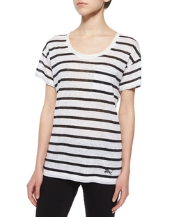 Burberry Brit  - Short-Sleeve Striped Linen Boyfriend Tee