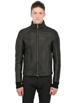 Rick Owens  - Hooded Heavy Leather Jacket