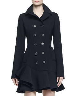 Alexander McQueen - Double-Breasted Flounce Hem Coat
