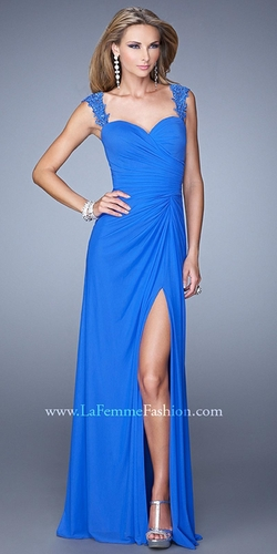 La Femme - Beaded Lace Strap Prom Dress