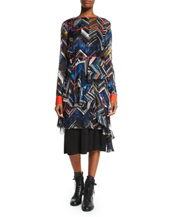 Preen By Thornton Bregazzi   - Long-sleeve Chevron-Print Dress
