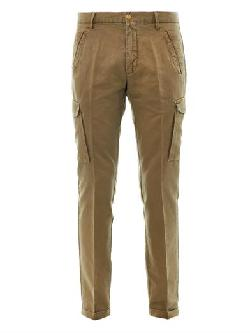 GANT RUGGER - Linen and cotton-blend cargo trousers