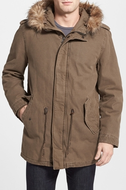 Dockers - Faux Fur Hooded Khaki Jacket